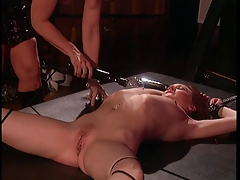 Big tits blonde mature enjoys a tongue job from her slave girl
