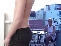 Horny and nasty grandma sucking her grandson friend