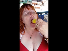 Mature play wih popsicle