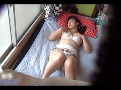Orgasm Asian stepmother on hidden camera