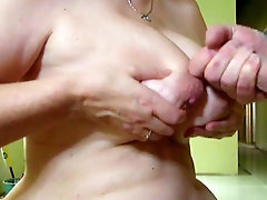 GREAT mature cum on tits