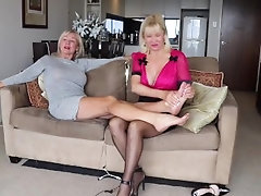 Two mature blondes educate on foot fetish