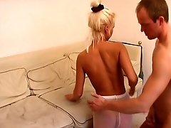 Nice fuck and footjob in white pantyhose
