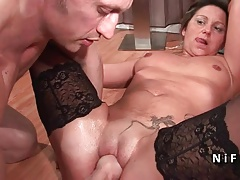 Casting French mature hard double penetrated and facialized