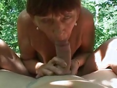 This beautiful granny takes it hard outdoor