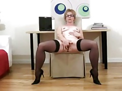 Blonde office milf fingers and cums