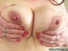 English milf Lelani takes off her party dress and plays