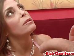 Classy mature deepthroating dick before anal