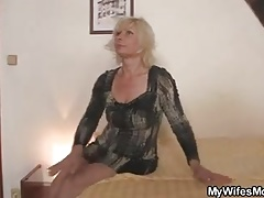 Blonde motherinlaw rides daughter's man cock