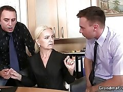 Granny takes two cocks at job interview