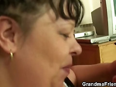 Two buddy seduce busty old mature
