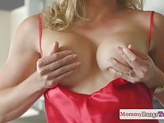 Busty stepmom facialized after doggystyle