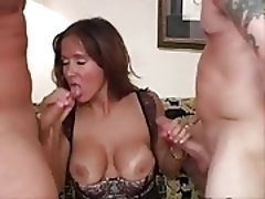 Sexy mature wife threesome in the living room