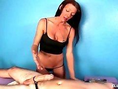 Naughty mature masseuse handjob