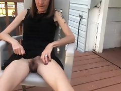 Skinny tattooed wife with hairy pussy upskirt