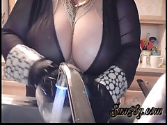 Sexy Cougar Samantha 38g doing dishes in sexy lingerie