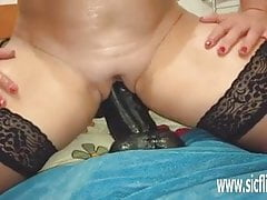 Fucking colossal dildos in her greedy bucket pussy