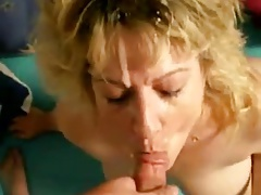 Fucking the mature MILF doggy and giving her a facial blast