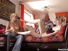 Old not mom and dad tricks her into threesome