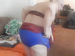 blue panties and cleaning took them off to tease