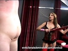 Mistress Brandi Lyons tests her slave's limits in a bdsm session