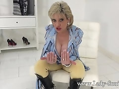 LadySonia MILF in KneeHighBoots-Handcuffed_And_Used_To_Stroke
