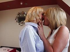 Two mature MILFs at wild lesbian sex