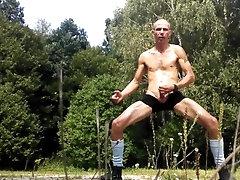 Skinny sock outdoor hard masturbate