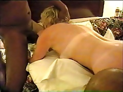 Blonde Wife in motel with 2 BBC Bareback