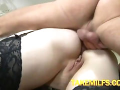 Chubby Red Mom Gets fuck by her Skinny Son Hard HOMEMADE