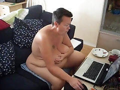 Jen is all Naked at the Computer