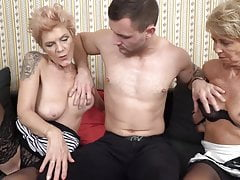 Two grannies having sex with young boy