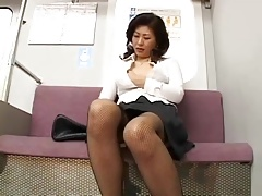 Japanese milf Masturbating on the subway