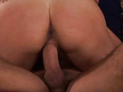 Horny wife bangs a hard cock in front of her husband & his friend