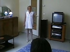 French white nurse in white stockings vs black cock.