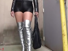 blonde mature in leather and boots