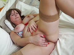 Natural busty mature mom with hairy pussy