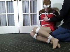 Crossdresser hogtied and teased