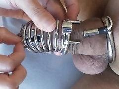 Prostate milking with chastity e-stim