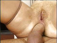 Mature wife in stokings rides good then takes two