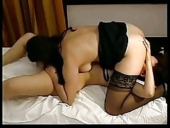2 MILF's with hairy pussy having a Threesome with lucky guy