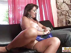 Chesty and leggy MILF gets her pussy licked and fucked