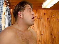 Mature with short hair gets fucked in sauna