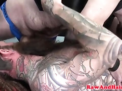Mature inked biker bear barebacked in trio